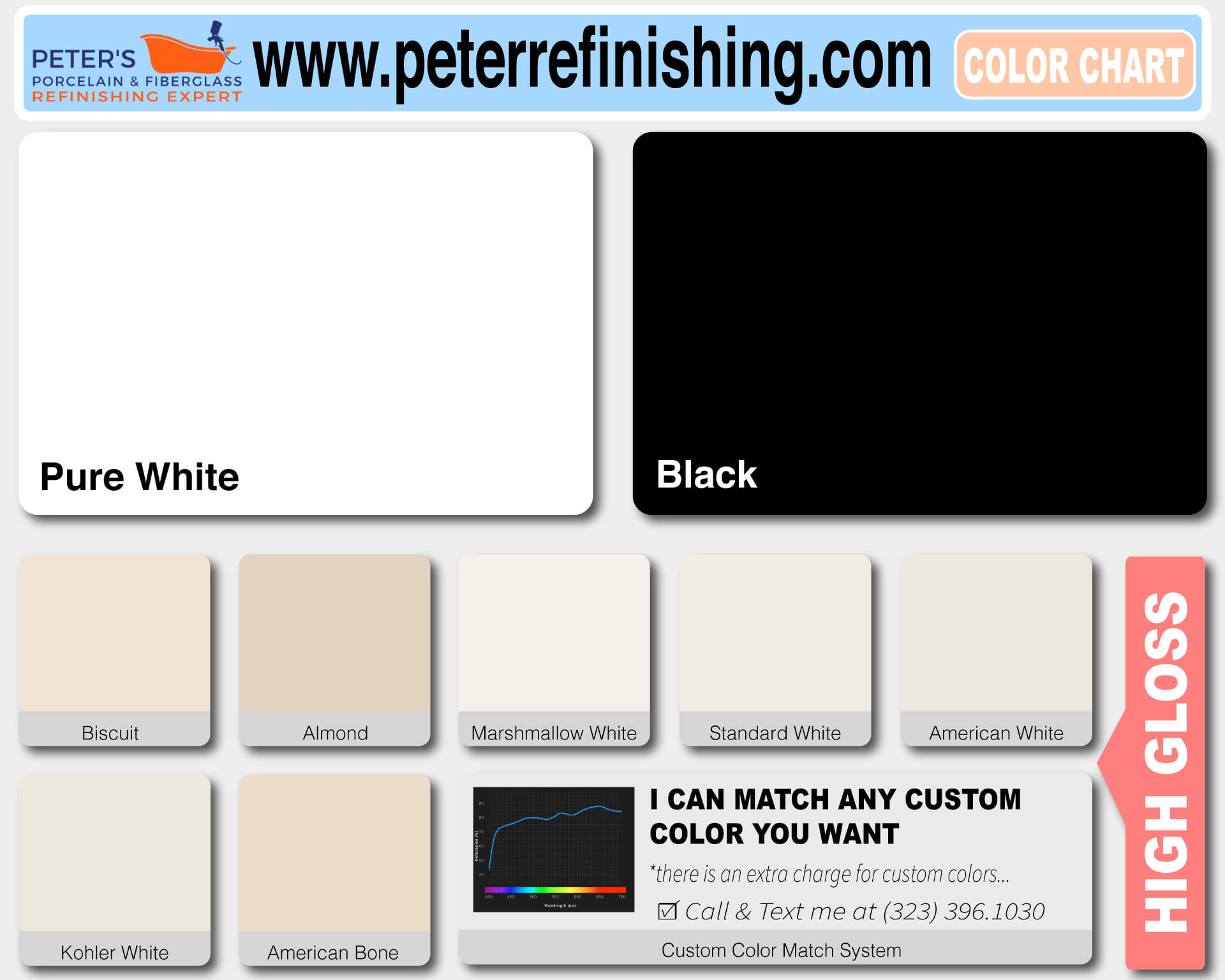 porcelain fiberglass reglazing color chart